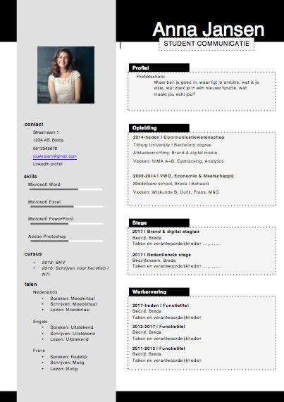 CV template Anna Jansen